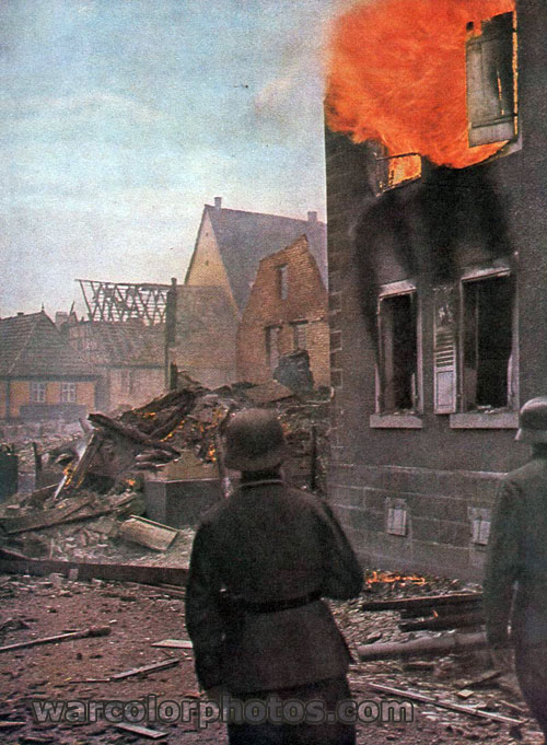 Burning house, France 1940